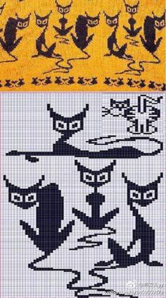 cat pattern for crochet, knit or embroidery – seen on жаккард, орнам… - KNITTING Knitting Charts, Knitting Stitches, Knitting Patterns, Sock Knitting, Knitting Machine, Vintage Knitting, Free Knitting, Crochet Cat Pattern, Crochet Chart
