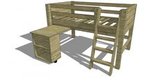 The Design Confidential Free DIY Furniture Plans // How to Build a Twin Sized Low Loft Bunk with Roll Out Desk + Bookshelf Loft Bunk Beds, Low Loft Beds, Bunk Beds With Stairs, Kids Bunk Beds, Bookshelf Plans, Bookshelf Desk, Toddler House Bed, Loft Bed Plans, Bed Rails For Toddlers