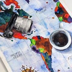 ♥ #art #artist #artwork #watercolor #draw #drawing #illustration #painting #camera #sonyalpha #nex5 #sonynex #map #coffee #cap #акварель #рисунок #карта #фотоаппарат