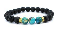 Nouveaux produits gros pierre de lave perles Bracelet en pierre naturelle, Hommes bijoux, Stretch Yoga Bracelet