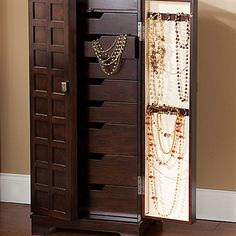 Walnut-Finish Panel-Front Jewelry Armoire - jcpenney