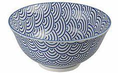 Hübsche blaue Porzellanschale für Reis, Suppe, Salat, Gebäck oder Beilagen mit Muster in drei Größen, von CNB.