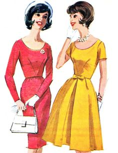 1960s Dress Patter McCalls 6150 Scoop Neck Midriff Dress Sheath or Flared Skirt Womens Vintage Sewing Pattern Bust 36 Uncut