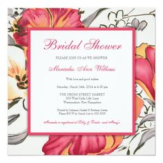 Modern Floral Bridal Shower Hot Pink Personalized Announcements