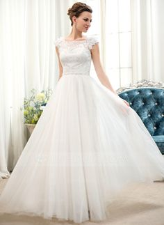 A-Line/Princess Scoop Neck Floor-Length Beading Flower(s) Sequins Zipper Up Cap Straps Sleeveless Church Beach Hall General Plus No Spring Summer Fall Ivory Tulle Lace Wedding Dress