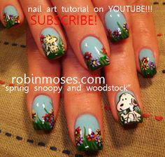 Nail-art by Robin Moses: snoopy nail art and woodstock nail art, patchwork nail art, patchwork quilt nail, hippie nail art, baby ducks in a ...