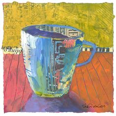 Coffee Tea Cup Original Painting. Shelli Walters