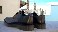 Derby Shoes with Abrasivato black leather, made in italy, rear view
