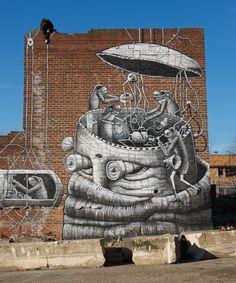 * Street Art by Phlegm in Sheffield *