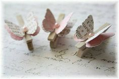 Mini Wooden Clothes Pin Butterfly Embellishment for Scrapbooking, Cardmaking, Altered Art, Text via Etsy Craft Projects, Crafts For Kids, Arts And Crafts, Paper Crafts, Butterfly Baby Shower, Clothes Pegs, Butterfly Crafts, Candy Cards, Scrapbook Embellishments