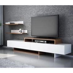 Wooden TV Stand Designs You Can Make Yourself - Dlingoo Tv Wall Design, Tv Unit Design, Tv Unit Furniture, Furniture Design, Furniture Nyc, Cheap Furniture, Living Room Tv Unit, Living Room Decor, Modern Tv Wall Units