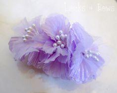 Hair Bows | White lace purple ribbon rose hair bows