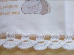 PUNTILLA PARA SERVILLETAS DE COMUNION - YouTube Crochet Border Patterns, Crochet Lace Edging, Crochet Leaves, Crochet Designs, Crochet Stitches, Crochet Flowers, Crochet Cord, Crochet Towel, Crochet Baby