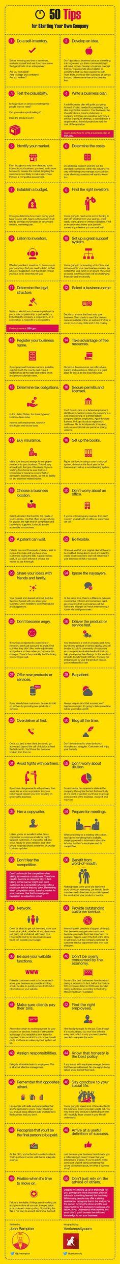 50 Things to Do When Starting a Business - #enterpreneur #startups (scheduled via http://www.tailwindapp.com?utm_source=pinterest&utm_medium=twpin&utm_content=post78410977&utm_campaign=scheduler_attribution)