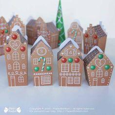 Calendrier de l'Avent - Maison de pain d'épices Paper Toy, Advent Calendar, Diy, Printables, Holiday Decor, Shop, Candy, Gingerbread Man, Upper House