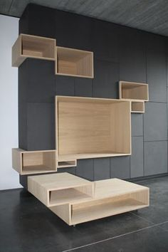 another cool way to deal with the vent? an open box without a back? this would make a cool tv wall, need some open/plexi fronts for remote controls tho. Interior Modern, Interior Architecture, Interior And Exterior, Deco Design, Wood Design, Home Furniture, Furniture Design, Regal Design, Bookshelves