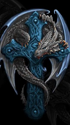 Celtic cross dragon by Anne Stokes . *Instead of cross, the dragon is protecting a little girl (representation of me) tattoo* Magical Creatures, Fantasy Creatures, Dragon Medieval, Dragons, Anne Stokes, Dragon Artwork, Dragon Pictures, Dragon Images, Dragon's Lair