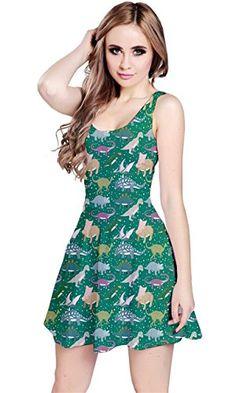 CowCow Womens Aqua Dinosaur Stylish Pattern Skater Dress 3a6d6ecc6