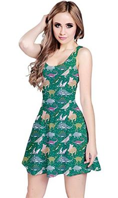 CowCow Womens Teal Dinosaur Stylish Pattern Skater Dress…