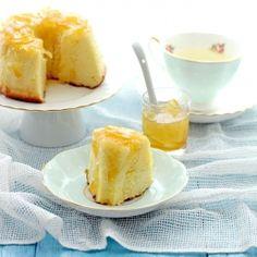 Soft and fluffy yuzu tea (honey citron) chiffon cake with subtle citrus notes.
