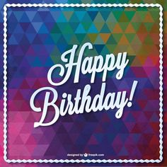 Triangle vector birthday card design Free Vector