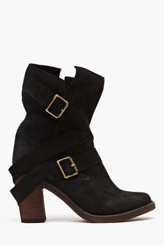 France Strapped Boot - Black Suede