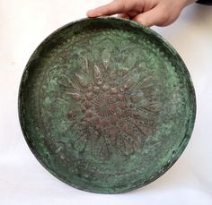 OLD COPPER | ... Middle Eastern Decorative Art, Old Vtg Copper Plate Hammered Beautiful