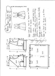 Esquema de modelagem de vestido com pregas e decote nas costas tamanho 42.