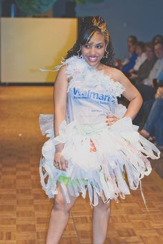 Dress made from Walmart plastic bags - inspiration for the winter camp recycled fashion show.
