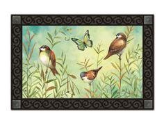 """Sanctuary Sparrows Spring Doormat Bird Butterfly Indoor Outdoor MatMates 18""""x30""""…"""