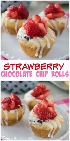 Strawberry cream cheese and chocolate chips add a fun center to these easy muffin rolls. These make the perfect little pastries for breakfast or brunch!