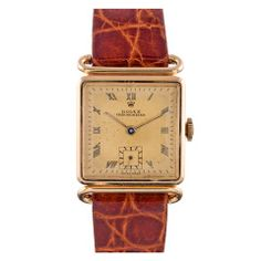 Rolex Gold Square Chronometer with Unusual Lugs circa 1940s thumbnail 1