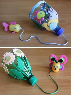 Make a catch cup game out of a PET bottle - .- Fangbecher-Spiel aus PET-Flasche basteln – Make a catch cup game from a PET bottle – # - Foam Crafts, Preschool Crafts, Crafts For Kids, Craft Foam, Recycled Toys, Recycled Crafts, Recycled Bottles, Projects For Kids, Diy For Kids