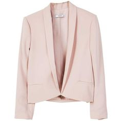 Crop Blazer (349.615 IDR) ❤ liked on Polyvore featuring outerwear, jackets, blazers, coats & jackets, structure jacket, pink blazer, cropped blazer, pink cropped jacket and cropped jacket