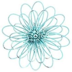 Buy Turquoise 3D Metal Flower Wall Decor by Makaret