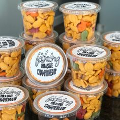 Goldfish team snacks in small plastic cups with lids. Fishing for a win! Cheerleading Snacks, Softball Treats, Volleyball Snacks, Cheer Snacks, Baseball Treats, Baseball Snacks, Sports Snacks, Volleyball Gifts, Volleyball Team