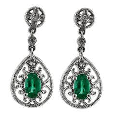 14K White Gold Oval Emerald .04ctw Diamond Earrings  #jewelry #emerald #earrings #diamonds