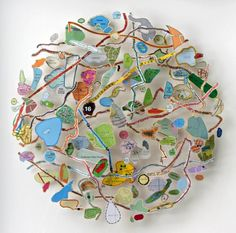 Chris Kenny Map Circle (16 Typhoons) (2007) collage/construction with cut maps