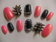 Spiked & Studded Barbie Pink and Black Matte Badass nails false/fake 3D nail