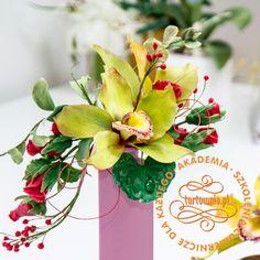Akademia tortownia.pl: Storczyk Cymbidium w kompozycji kwiatowej