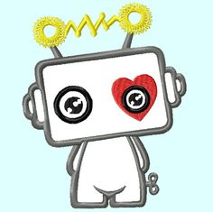 Cute Robot Heart APPLIQUE Embroidery Designs 2 sizes