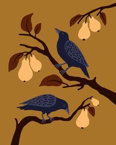 Corneilles et poirier Lisa, Illustration, Animals, Handstand, Crow, Animaux, Illustrations, Animal, Animales