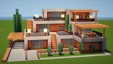 Minecraft Modern House Designs, Minecraft Modern Mansion, Minecraft Barn, Minecraft City Buildings, Minecraft House Plans, Minecraft Cottage, Minecraft Interior Design, Easy Minecraft Houses, Minecraft House Tutorials
