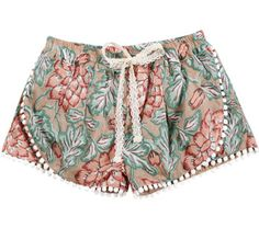 Louise Misha printed shorts in nude. - Lace details on the rim and tie on the front. - 100% Cotton