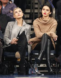 Besties Hailey Baldwin and Kendall Jenner get all dressed up for a pre-season game at Madison Square Garden.