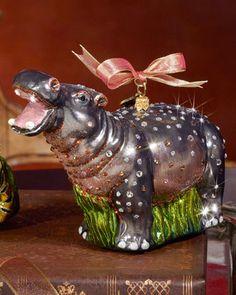 """Jay Strongwater Hippo Christmas Ornament """"I want a hippopotamus for Christmas. Only a hippopotamus will do. Don't want a doll, No dinky tinker toy, I want a hippopotamus to play with and enjoy . Modern Christmas Ornaments, Christmas Tree Themes, Christmas And New Year, All Things Christmas, Holiday Decor, Merry Christmas, Cute Hippo, Baby Hippo, Hippopotamus For Christmas"""