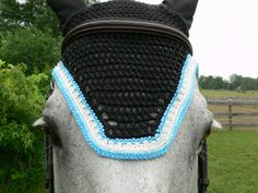 Black Fly Bonnet with Blue and Crystal Trim