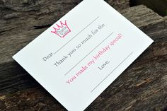 Kids Thank You Notes Fill In The Blank Pink Princess Design. $18.00, via Etsy.