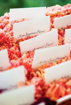 Brides.com: A Backyard Summer Wedding in Maryland. The escort cards were hand-lettered by Jon's mother, and arranged in a bed of carnations.