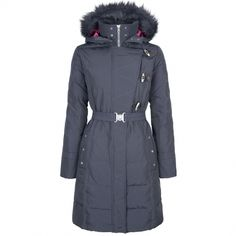 5a569bb03c21e Dubarry Inverin Navy Jacket | Ladies Clothing | Millbry Hill - 2/3 length  coat with a down filling and faux fur trimmed detachable hood.